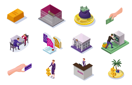Money laundering and fraud isolated icons for infographics with criminal washing money, corruption concept, offshore, bank building, office people, coin, banknote, isometric vector illustration