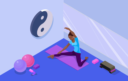 Yoga studio interior with woman doing physical fitness exercise. Illustration