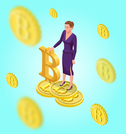 Business woman with bitcoin symbol, cryptocurrency coins, money banknotes, golden bar, successful financial wealth concept, isometric 3d vector illustration