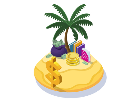 Offshore company concept with money banknotes, coins on tropical island with palm and dollar sign, folders with documents, financial fraud poster, isometric 3d vector illustration Çizim