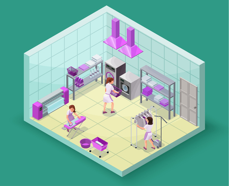 Dry cleaners or laundry service isometric 3d illustration with washing and ironing machines, laundress, baskets, detergent, vector interior of clothes cleaning shop Vettoriali