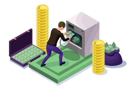 Criminal washing banknotes in machine, money laundering icon with bandit, financial fraud concept, isometric 3d vector illustration Stok Fotoğraf