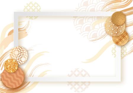日本の波のパターン、パンフレット、名刺テンプレートやトレンディな東洋の幾何学的なスタイル、日本の東洋の装飾、トレンディなベクターファ