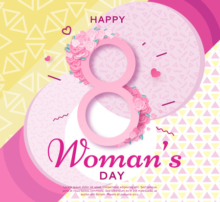 Trendy geometric women s day banner, 8 march poster in modern 90s 80s Memphis style with paper art or origami elements, patterns, woman silhouette, colorful vector illustration, fashion background.