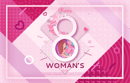 Womens day origami paper art greeting card, 8 march banner in trendy 90s 80s Memphis style with geometric shapes, frame, patterns, woman silhouette, colorful vector illustration, fashion background.