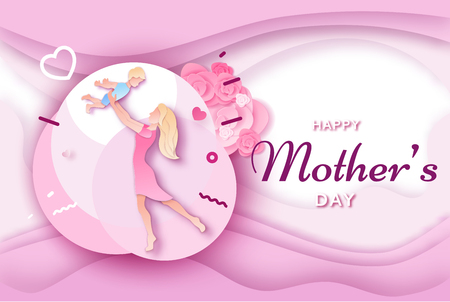 Mothers day origami paper art greeting card in trendy style with frame, patterns, flowers, woman holding baby son silhouette. Colorful carved vector illustration Ilustração