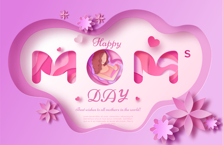 Mothers day origami paper art greeting card in trendy style with frame, patterns, flowers, woman holding baby silhouette. Colorful carved vector illustration