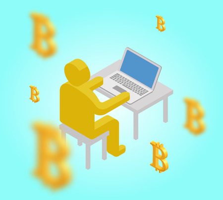 Businessman abstact figure mining bitcoin, cryptocurrency coins, successful financial wealth concept, isometric 3d vector illustration