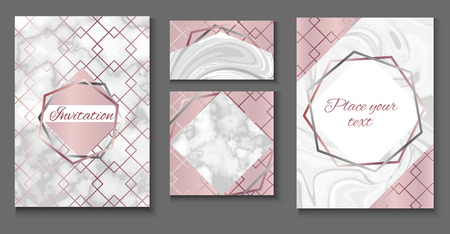 Brochure or vip packaging design set, luxury wrap paper template or background in trendy geometric style, with marble texture, gold rose metal, frame, vector fashion wallpaper, poster, gift box Illustration