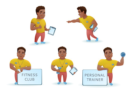 Personal fitness trainer set, african cartoon characters collection, sports man training.