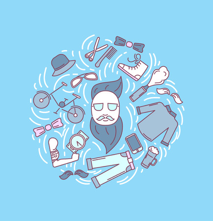 Hipster accessories set in line art style with trendy clothing, gadgets, bicycle, icons collection, template for banner, flyer, print, vector illustration.