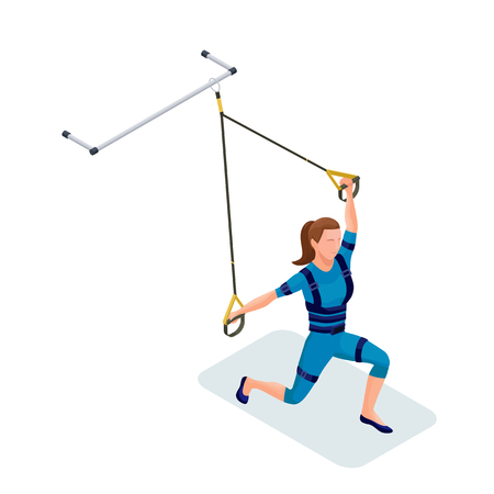 Isometric infographic 3d illustration with girl doing suspension