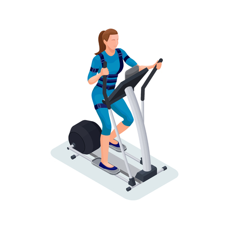 Ems fitness cardio workout isometric 3d illustration with girl r Ilustração
