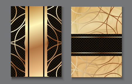 Brochure or vip packaging design set, luxury wrap paper template or background in trendy geometric style, with marble texture, gold rose metal, frame, vector fashion wallpaper, poster, gift box,