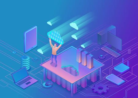 Man holding cloud isometric info-graphic 3d illustration, landing page layout, vector web template, smart modern technology concept.