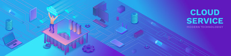 Cloud service isometric design template Иллюстрация