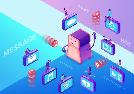 Chat-bot service isometric vector illustration Illustration