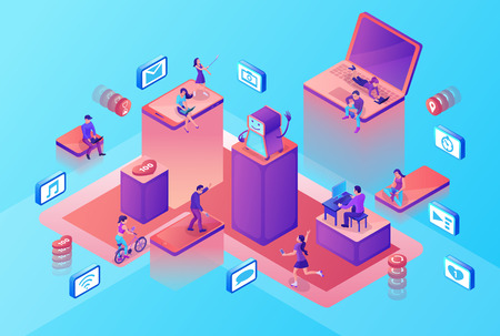 Chat bot service isometric illustration with modern hipster people