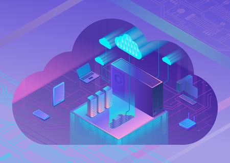 Cloud service 3d isometric infographic illustration, landing page layout, vector web template, smart modern technolodgy concept, ultra violet colors Illusztráció