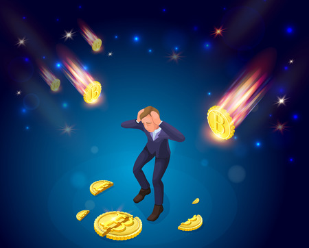 Businessman with fallen bitcoin, 3d isometric vector illustration with man and cryptocurrency symbol, financial crisis concept, money fail Illustration