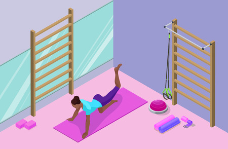 Yoga studio interior with african woman doing physical fitness exercise, isometric 3d vector illustration with sport training, relaxation and meditation