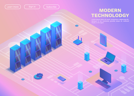 Computer network isometry, 3d concept with server, laptop, smarphone, landing page isometric template, modern gadgets vector illustration