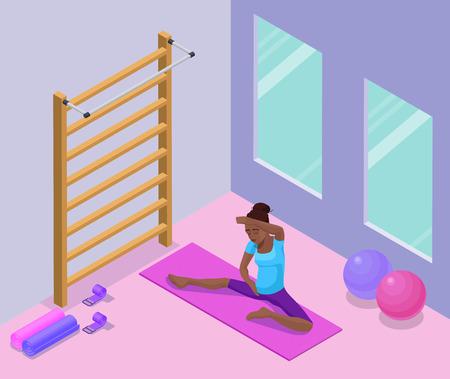 Yoga studio interieur met Afrikaanse vrouw fysieke fitness oefening, isometrische 3D-vectorillustratie met sport opleiding, ontspanning en meditatie