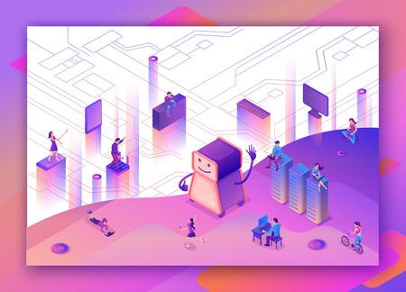 Künstliches Intelligenzkonzept mit Roboter, Menschen, Netzwerk, isometrische 3D-Illustration mit Smartphone, Laptop, mobilem Gerät, modernem Datenspeicherbanner, Landingpage-Hintergrund