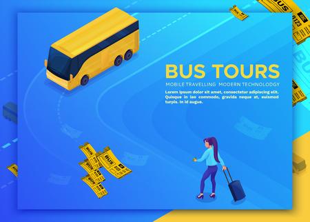 Concept de voyage en bus, modèle de page de destination avec icônes 3d isométriques de l'automobile, fille réservant une visite en ligne et achetant un billet, conception d'applications pour smartphone, illustration vectorielle moderne avec des personnes