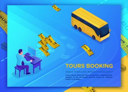 Concepto de viaje en autobús, plantilla de página de destino con iconos isométricos 3d de automóvil, hombre reservando recorrido en línea y comprando boleto, usando computadora, diseño de aplicaciones, ilustración vectorial con personas