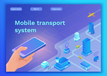 Mobile transportation online service landing page template, travel booking app concept with 3d isometric vector flat icons of smartphone, airplane, bus, electric scooter, girl searching in internet Illustration