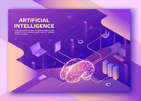 Artificial intelligence landing pagewith electric brain and neural network, isometric 3d illustration with smartphone, laptop, mobile gadget, modern data storage banner, violet background
