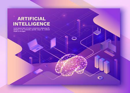 Strona docelowa sztucznej inteligencji z elektrycznym mózgiem i siecią neuronową, izometryczna ilustracja 3d ze smartfonem, laptopem, gadżetem mobilnym, nowoczesnym banerem do przechowywania danych, fioletowym tłem