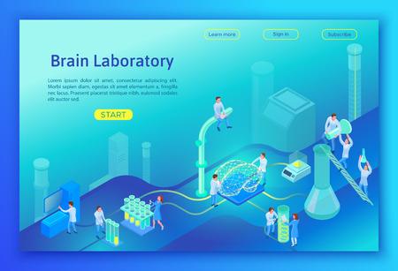 Laboratorium badające koncepcję izometryczną mózgu, szablon strony docelowej ze sprzętem 3d, ludzie wykonujący eksperyment naukowy i analizę, ilustracja wektorowa nowoczesnego laboratorium Ilustracje wektorowe
