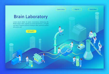 Laboratory researching brain isometric concept, landing page template with 3d equipment, people doing scientific experiment and analysis, modern lab vector illustration Çizim