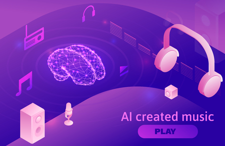 Artificial intelligence created music, 3d isometric infographic vector illustration with brain icon, sound symbols, modern musical show concept in violet color