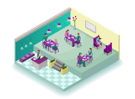 Isometric cafe interior with people, 3d concept of modern restaurant with visitors having food, reception, sofa, table, vector illustration