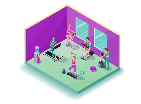 Isometric 3d illustration fitness cardio workout with girls running elliptical machine, stepper, bicycle, good for sport infographics Illustration