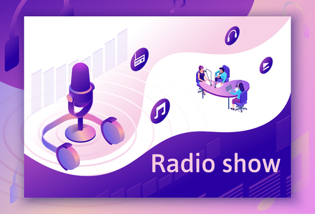 Podcast isometric 3d illustration, modern music radio show or audio blog concept, vector landing page template with people, microphone, sound studio interior in violet color