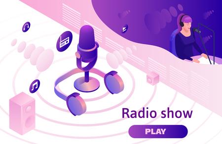 Ilustración 3d isométrica de podcast, programa de radio de música moderna o concepto de blog de audio, plantilla de página de destino de vector con personas, micrófono, interior de estudio de sonido Ilustración de vector