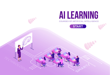 Artificial intelligence lerning courses concept with isometric people, 3d illustration with ai, modern concept of online learning, landing page background Illustration