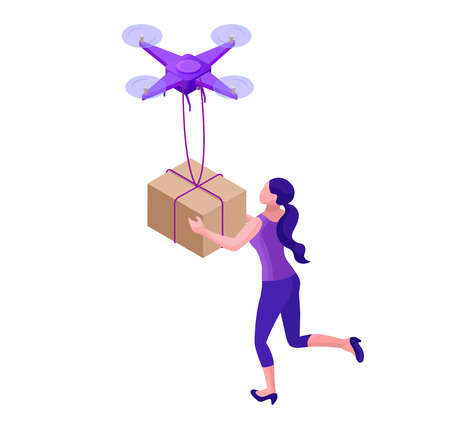 Drone delivering parcel to hipster girl, landing page template with quadcopter, concept of delivery, autonomous photo and video innovation technolodgy, 3d isometric flat vector illustration Illustration