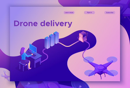 Landing page design with quadcopter, drone delivering parcel to people, concept of delivery, photo and video shooting, 3d isometric infographic flat vector illustration Illustration