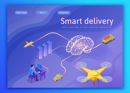 Smart cargo delivery system concept, artificial intelligence management, online mobile app landing page template with intelligent server, drone, brain 3d vector illustration