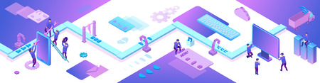 Desarrollo de aplicaciones móviles y sitios web Concepto isométrico 3d, ilustración de vector de gestión de software, desarrollador en la aplicación de teléfono inteligente de construcción de transportadores, fondo violeta de moda, banner de página de destino Ilustración de vector