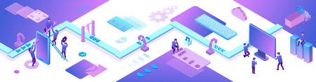 Mobile app and website development 3d isometric concept, software management vector illustration, developer at conveyor building smartphone application, trendy violet background, landing page banner Ilustração