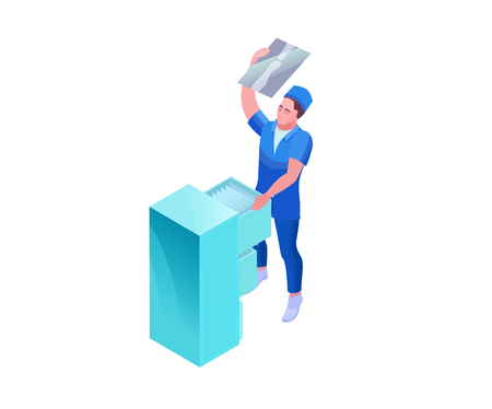 Doctor watching radiograph, 3d isometric vector illustration with medical specialist and x-ray radiogram, isolated people