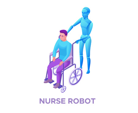 Robot nurse helping disabled man in wheelchair, smart robotic technology, isometric 3d vector illustration with ai in elderly care, artificial intelligence in healthcare