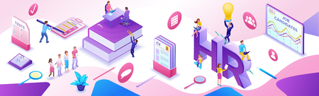HR department isometric horizontal banner template, Recruitment agency, 3d employer hiring talent personnel, candidates search work via mobile app, office business people, vector illustration