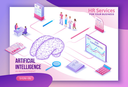 Human resources with artificial intelligence,hr recruiting agency website ui ux template with 3d employer hiring man, job interview, candidate search work, business people, isometric illustration Stock Illustratie